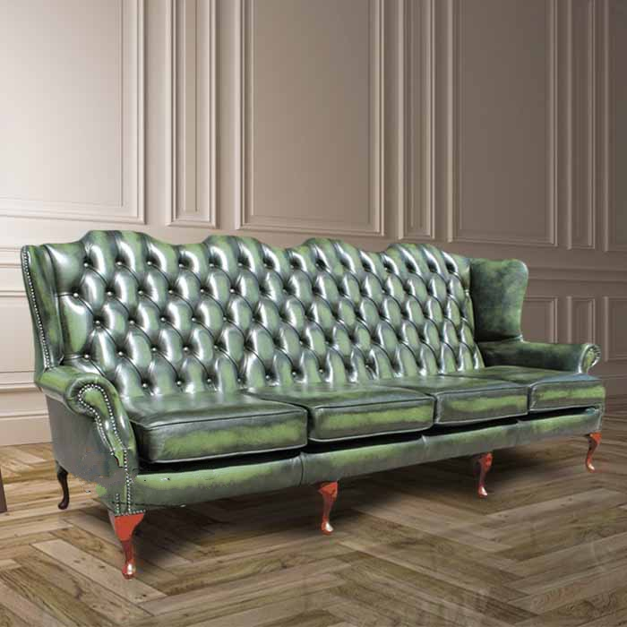 high back chesterfield sofa sure fit stretch metro 1 piece slipcover green 4 seater wing designersofas4u queen anne uk manufactured antique