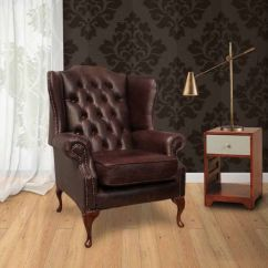 Leather Wing Chair Uk Kids Lounge Chairs Brown Chesterfield Mallory High Back | Designersofas4u