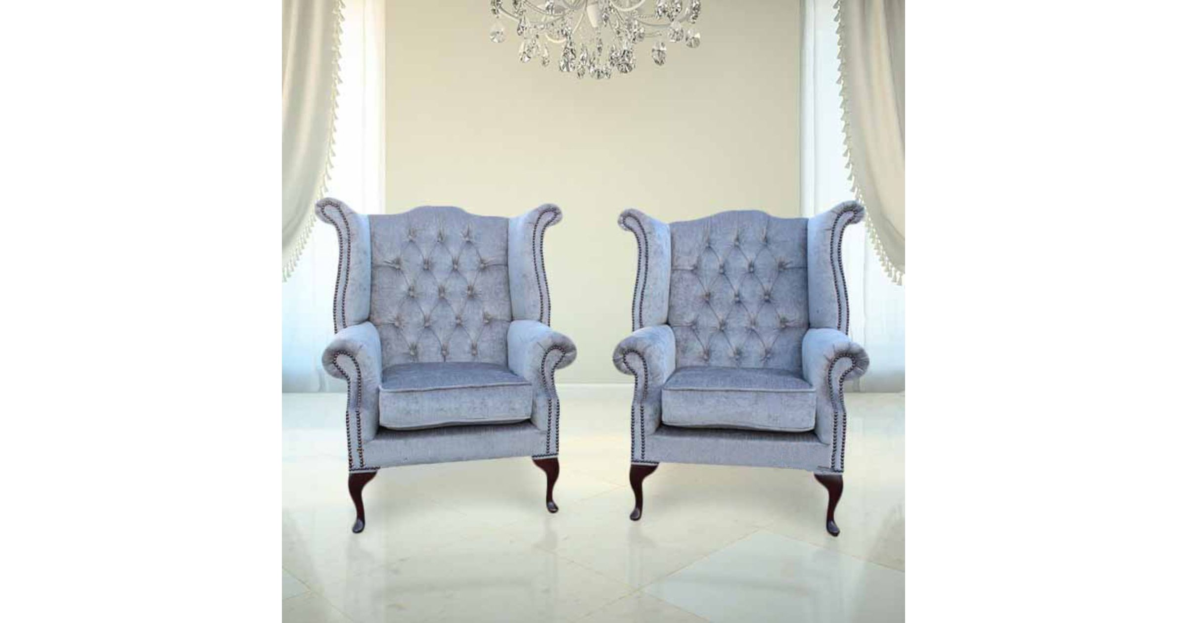 velvet chesterfield sofa suite donate a to charity perla grey pair fabric wing chair ...
