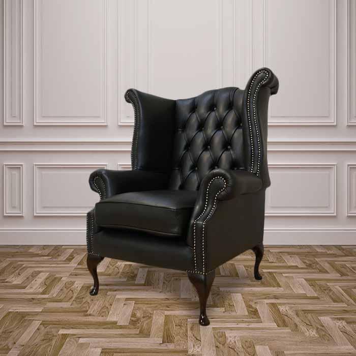Black Chesterfield Queen Anne Wing chair  DesignerSofas4U