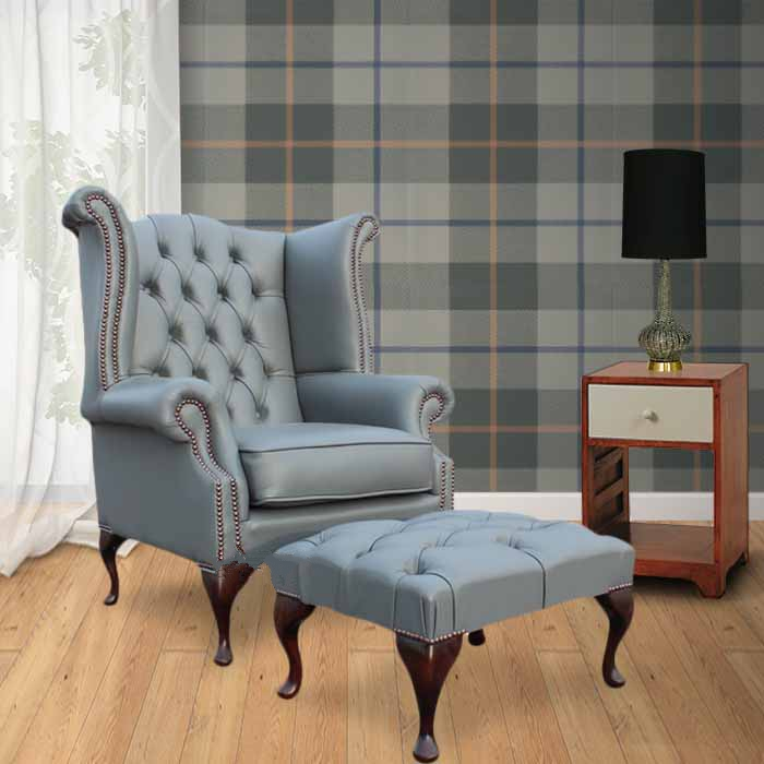 Chesterfield High Back Wing Chair  Footstool