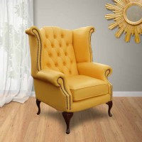 Yellow Chesterfield High Back Wing chair | DesignerSofas4U