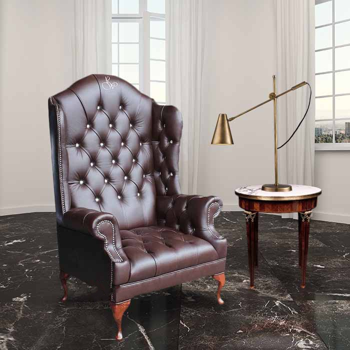 queen anne wingback chair leather glider rocker uk chesterfield embroidered high back wing designersofas4u scarface crystallizedoao swarovski elements antique brown