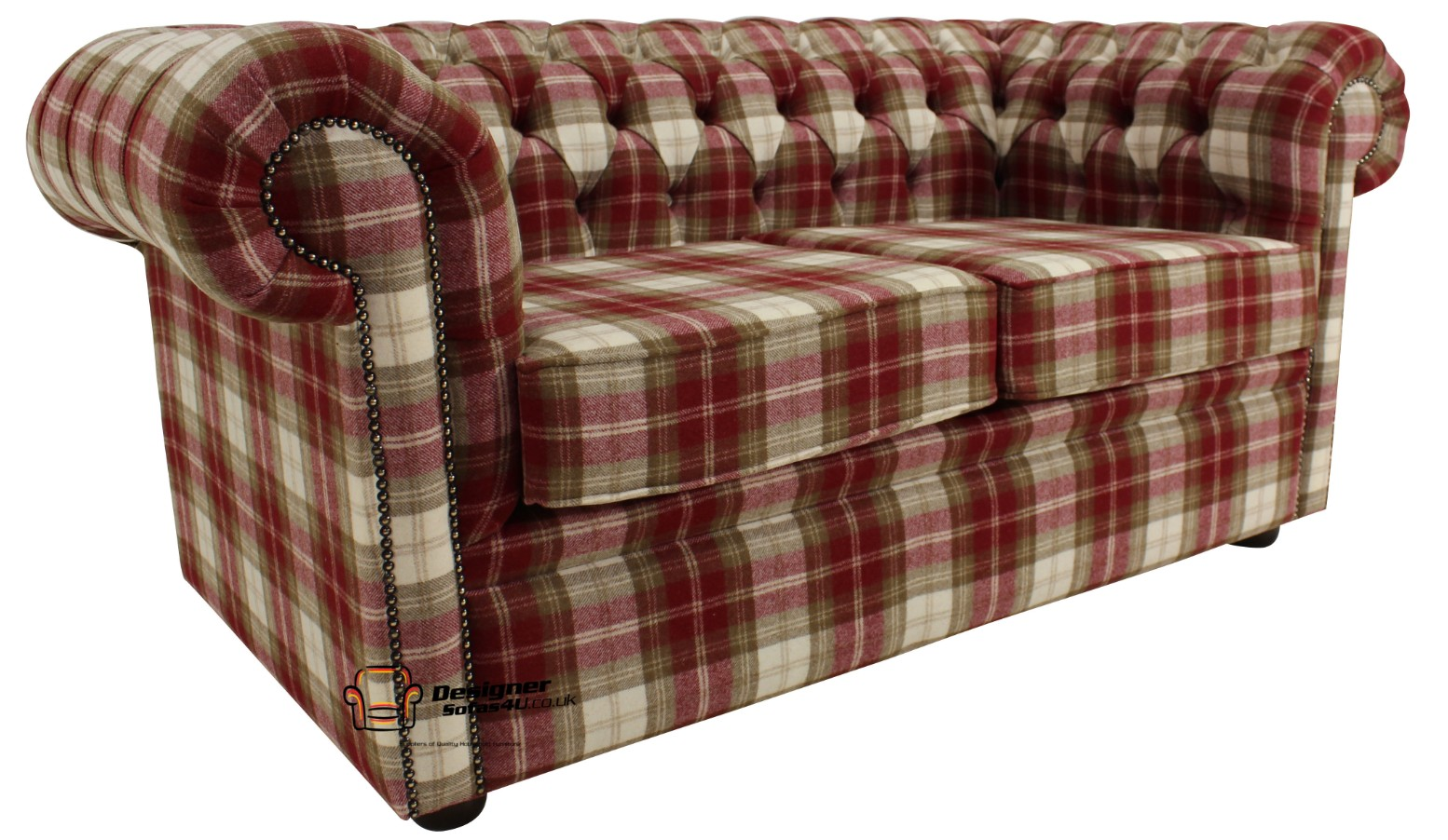 tartan chesterfield sofa designs of l shaped sets buy red wool at designersofas4u 2 seater settee fernie check tweed