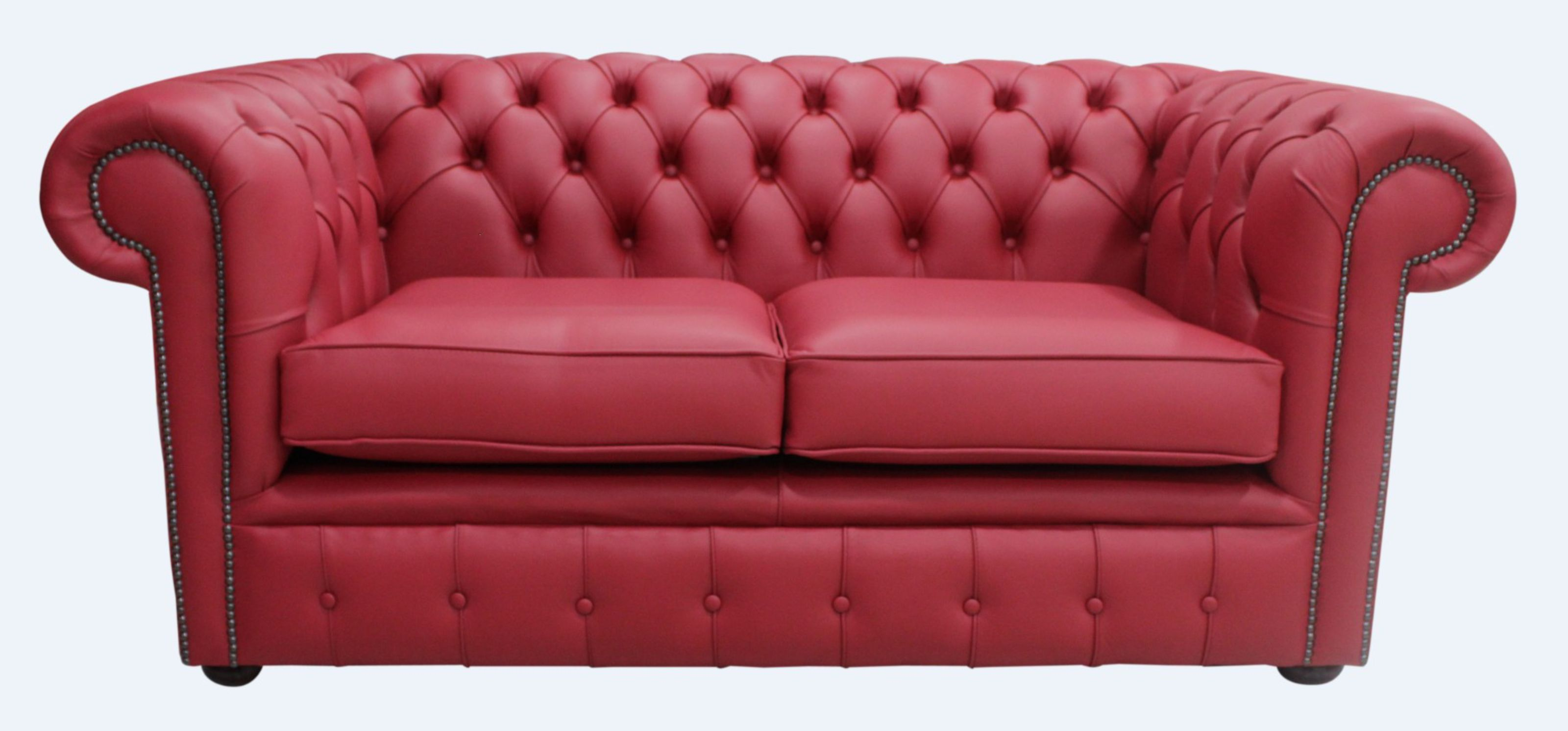 red leather two seater sofa house of fraser brown buy poppy chesterfield at designersofas4u 2 settee