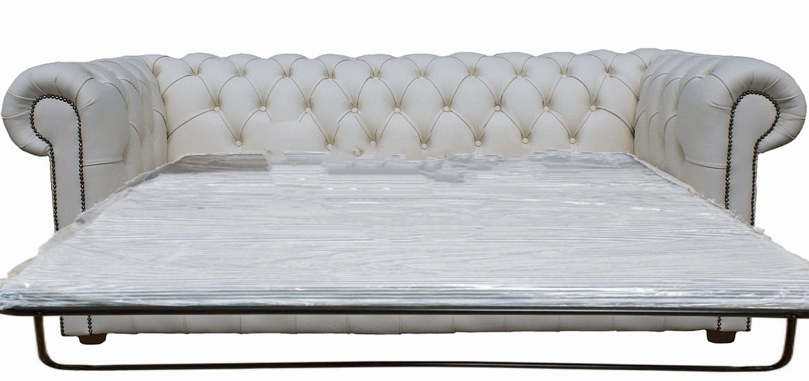 chesterfield sofa bed crate and barrel axis slipcover buy in white leather 3 seater sofabed