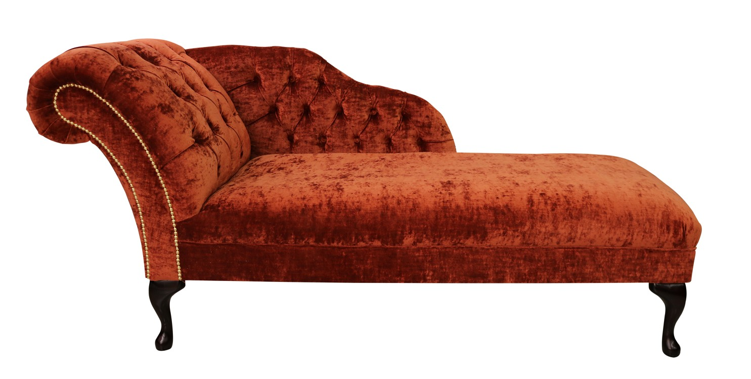 chesterfield velvet chaise lounge day bed modena terracotta left hand
