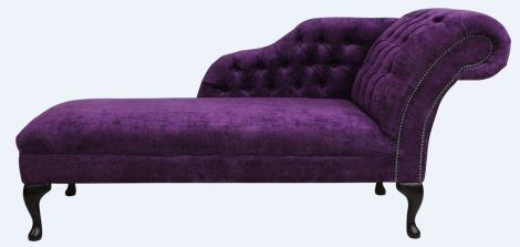 Chesterfield Chaise Lounge Velluto Amethyst Purple Fabric
