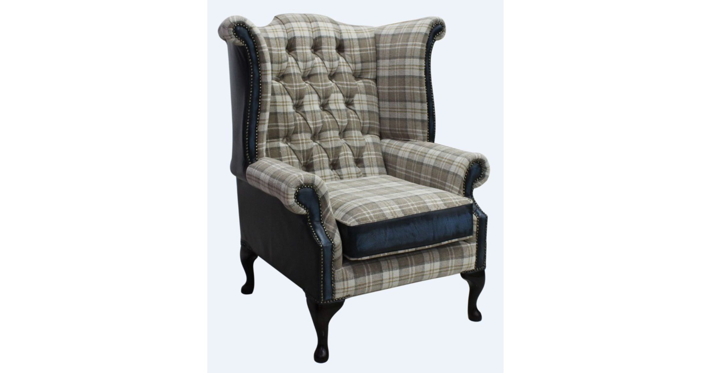 Truffle Check Chesterfield Queen Anne High Back chair
