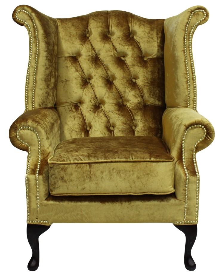 high back velvet chair uk personalized makeup artist gold chesterfield wing | designersofas4u