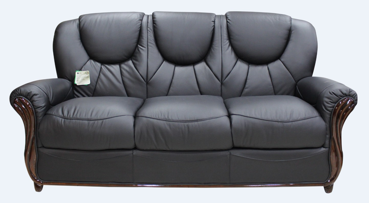3 seater sofa black leather u shaped corner sofas lucca genuine italian settee