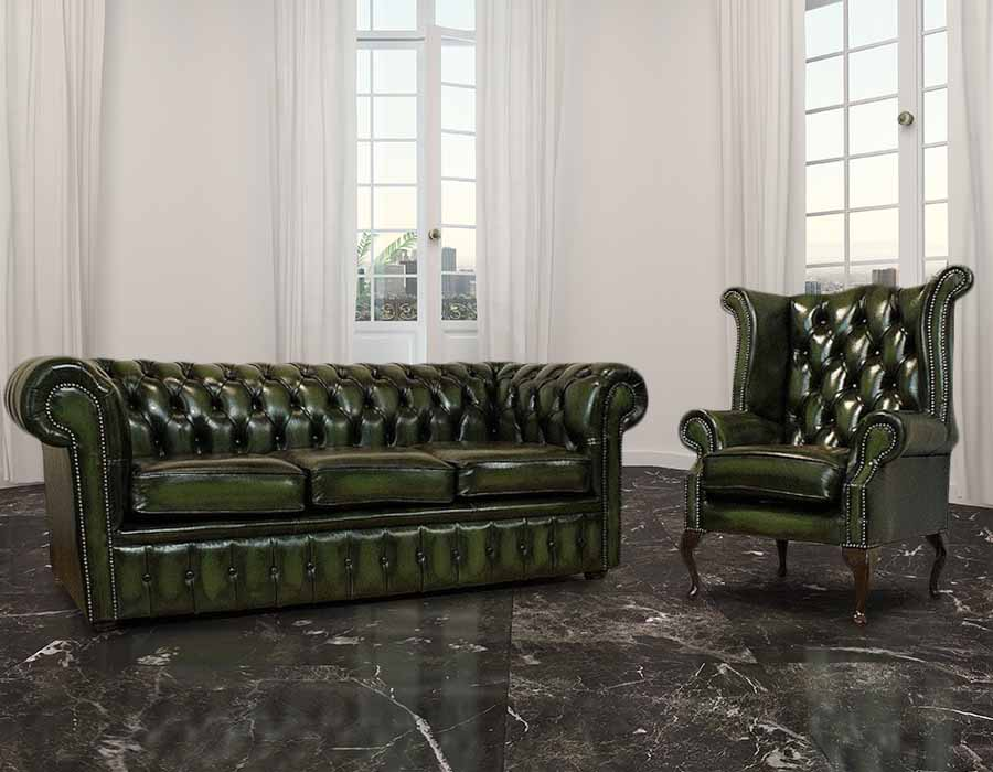 Buy leather 3  1 seat Chesterfield suiteDesignerSofas4U