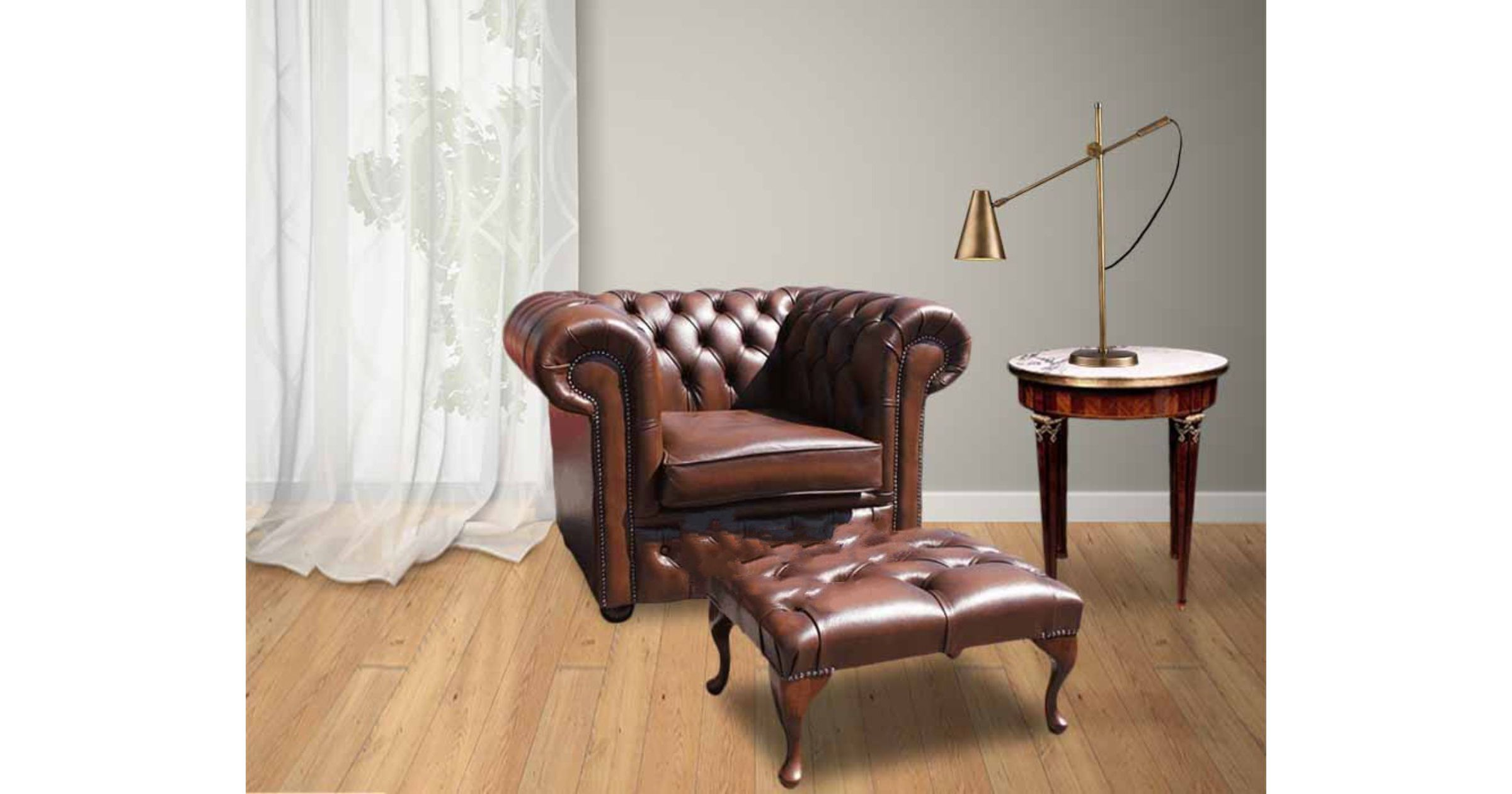 antique sofas near me coastal living leather chesterfield armchair & footstool|designersofas4u
