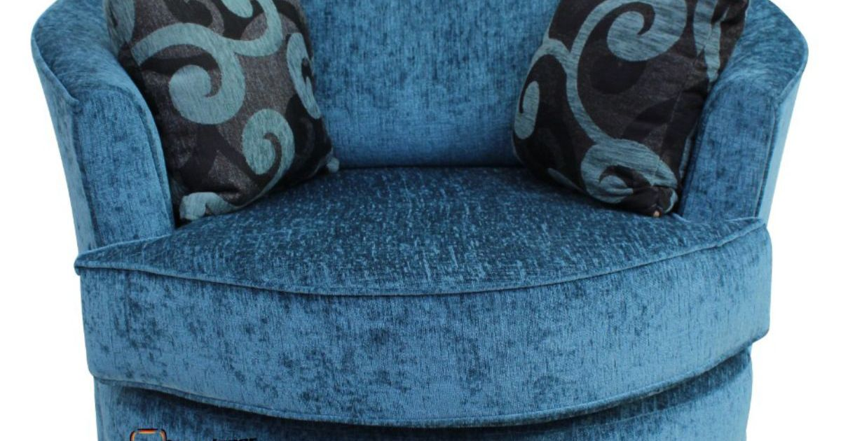 Cuddler Swivel Chair  Snuggle Swivel Armchair Carlton Teal Fabric