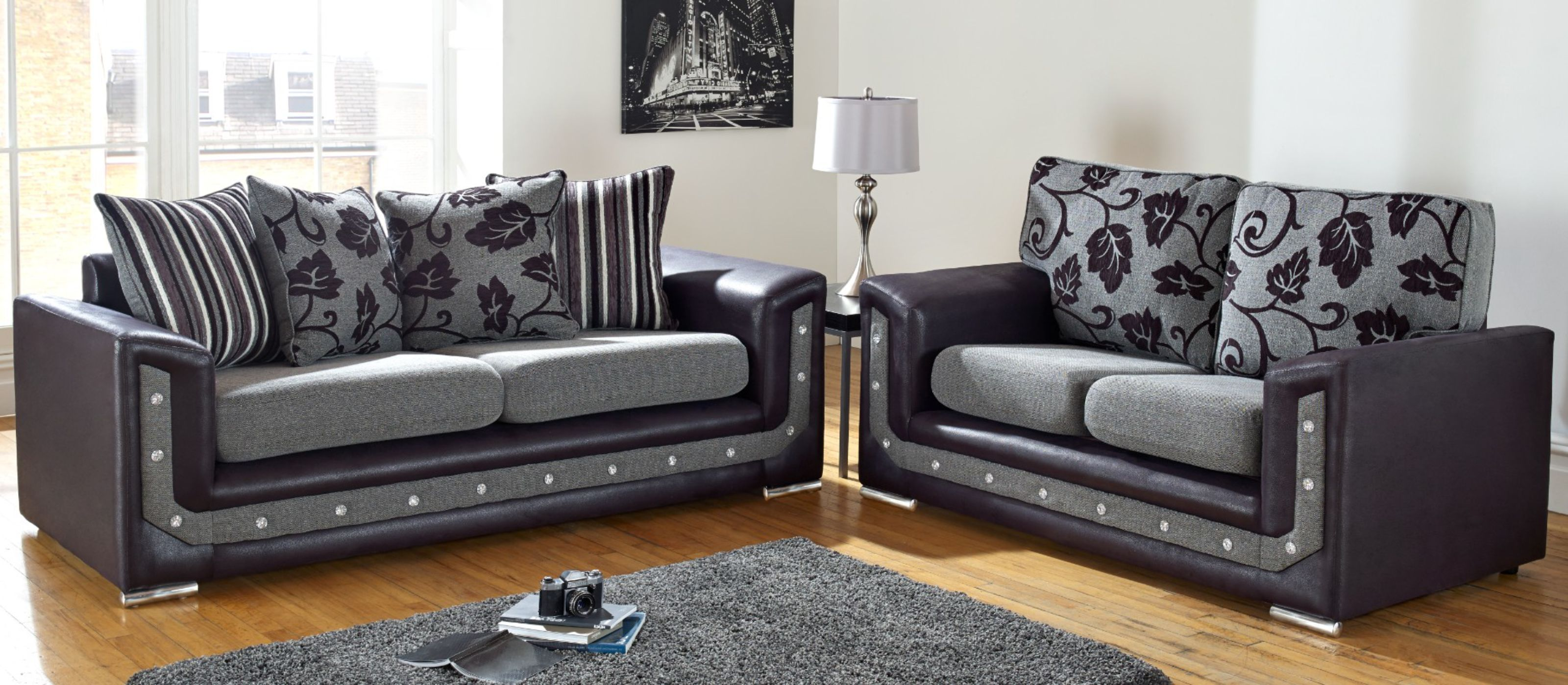 grey fabric sofa uk italian designs india settee suite set international delivery designersofas4u las vegas 3 2 swarovski crystal diamante