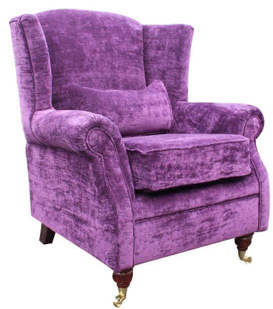 Wing Chair Fireside High Armchair Velluto Amethyst