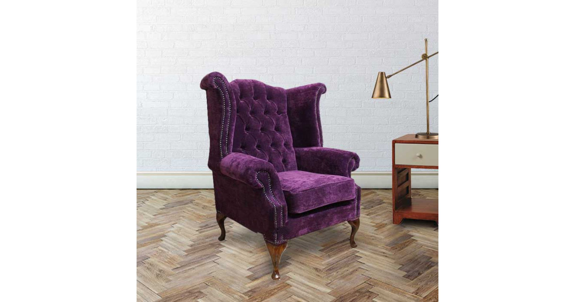 Purple Chesterfield Newby High Back Wing chair