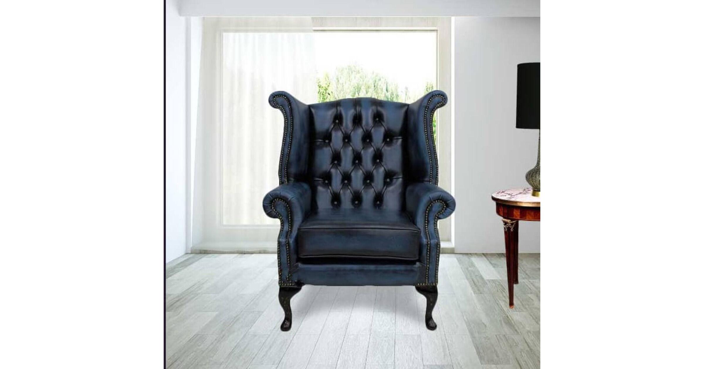 high back velvet chair uk fishing walmart antique blue chesterfield queen anne wing | designersofas4u