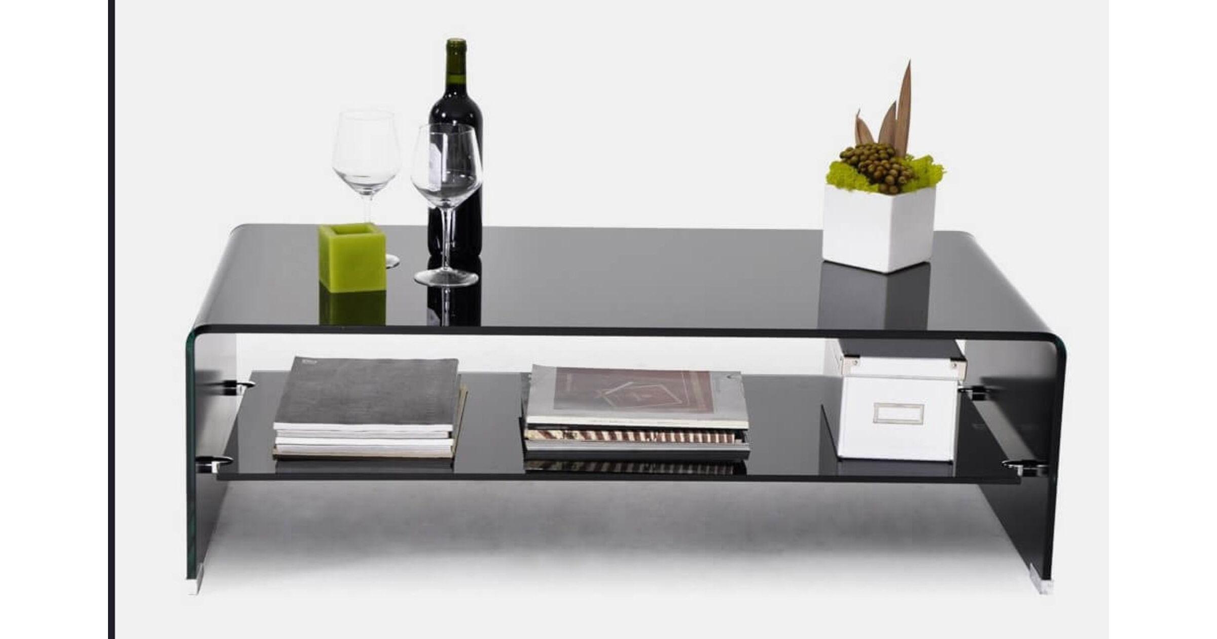 aria black glass coffee table with shelf designer sofas4u