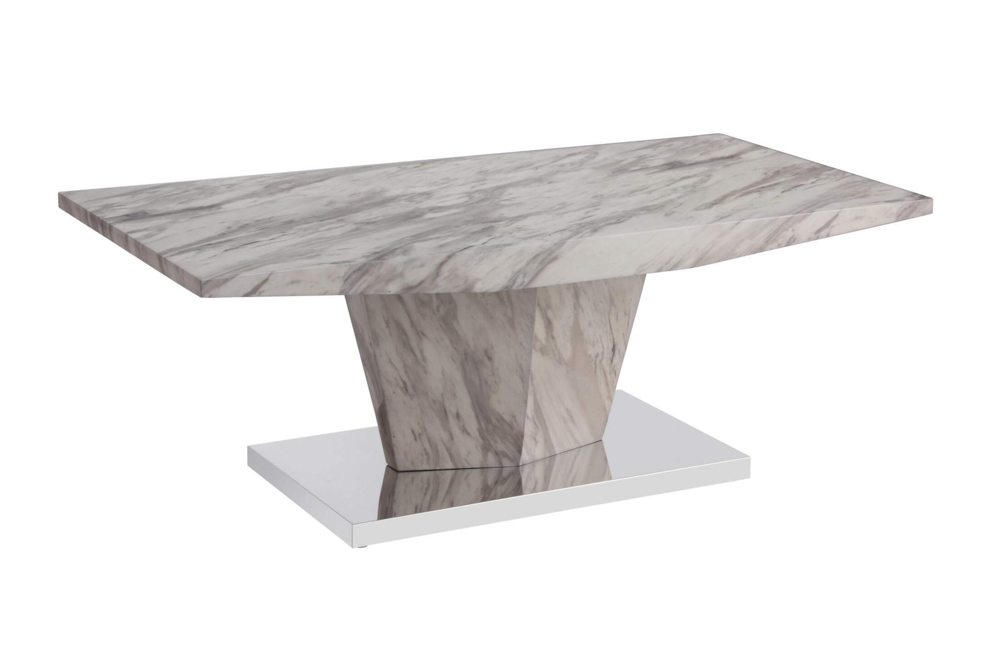 kaysa marble effect table top coffee table with stainless steel base