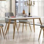 Noah Marble Top Dining Table With Stainless Steel Gold Legs Designer Sofas4u