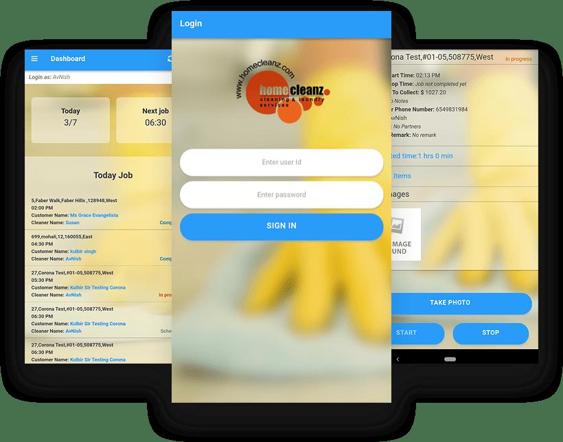 HomeCleanz Mobile App UI Design