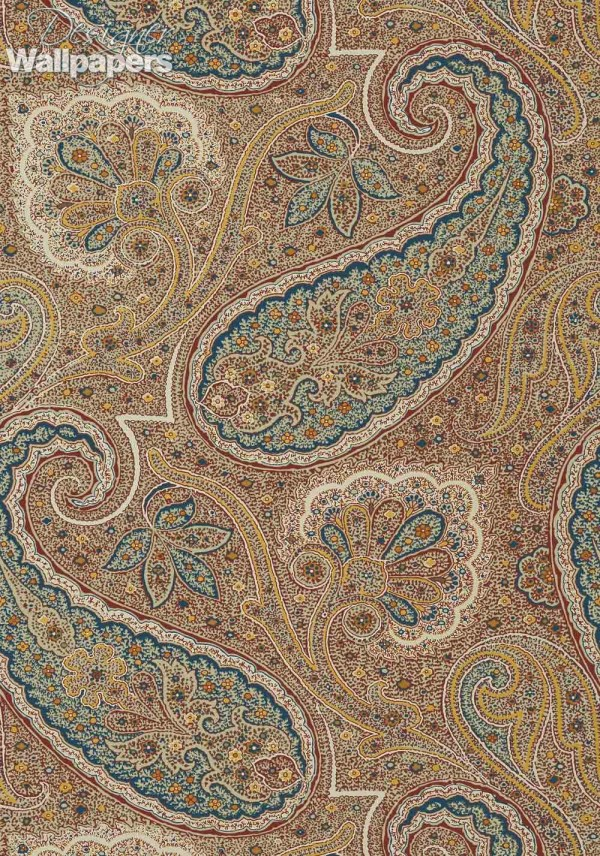 Teal and Beige Paisley Wallpaper