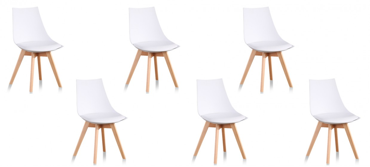 lot de 6 chaises scandinaves blanches prague