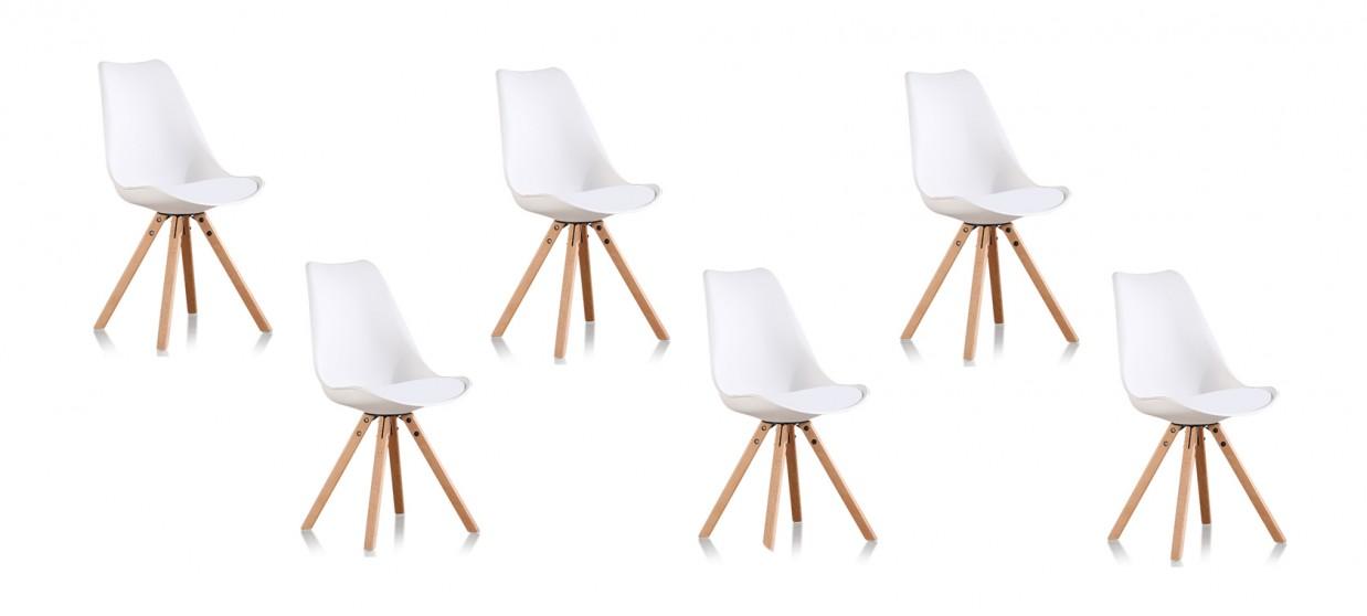 lot de 6 chaises scandinaves blanches helsinki