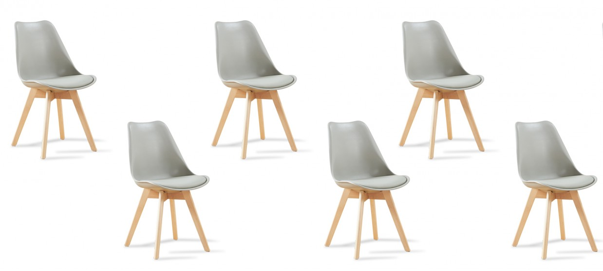 lot de 6 chaises scandinaves grises bjorn