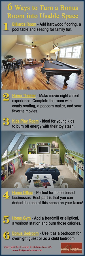 bonus room ideas infographic