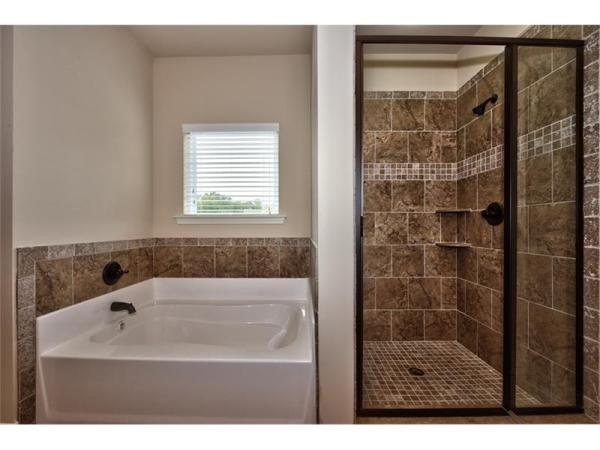 Boxley master bath tub and shower
