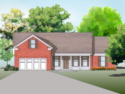 Kaplan house plan elevation rendering