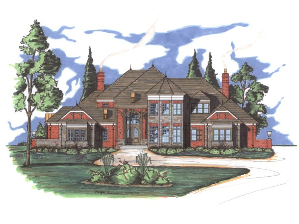 Mansart house plan rendering
