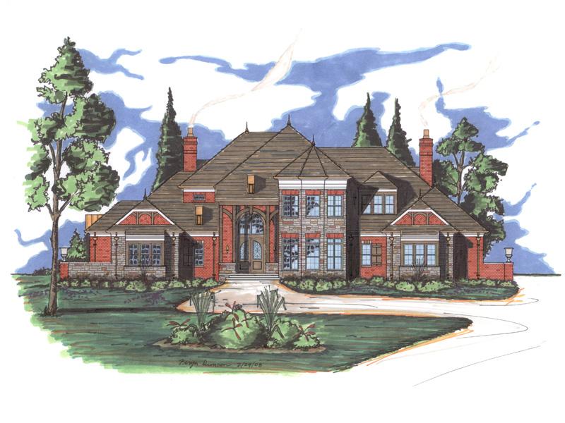 Mansart house plan rendering