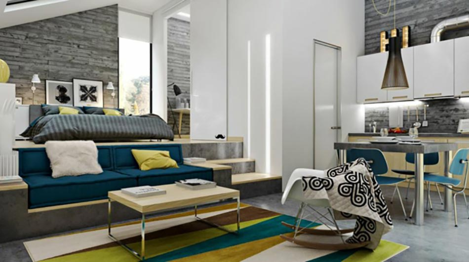 petit studio astucieusement decore dans des tons tendances tendance studio decoration moderne