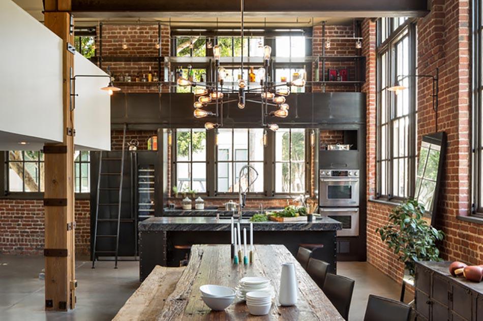 style industriel mis en valeur par les murs en briques design industriel loft moderne