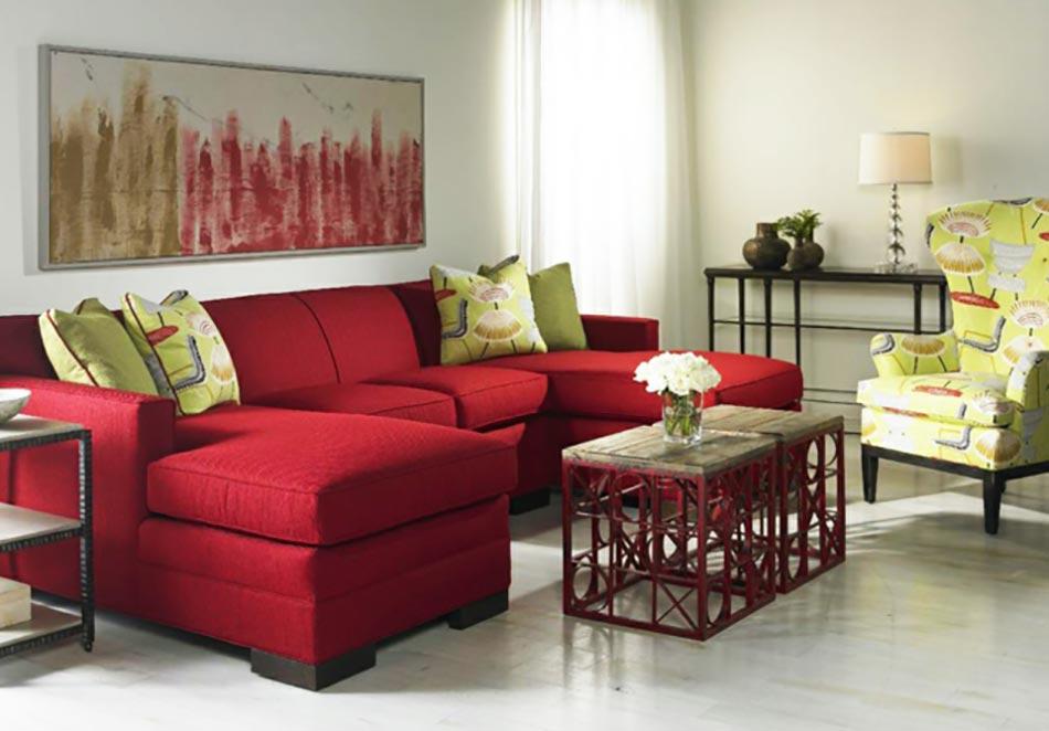 Une dco de salon avec du temprament chaud en rouge  Design Feria