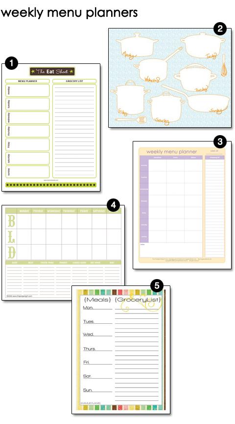 Free Printable Weekly Menu Planners