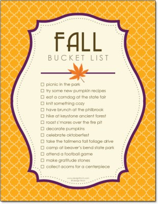 kids fall bucket list freebie