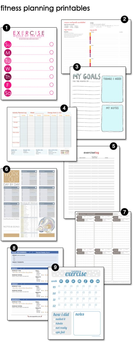 Fitness Planning Printables | Atkinson Drive
