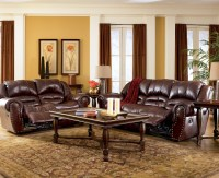 LEATHER ASHLEY COLTON BURGUNDY RECLINING SOFA LOVESEAT