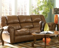 LEATHER RECLINING SOFA LOVESEAT ASHLEY MCINTYRE CARAMEL