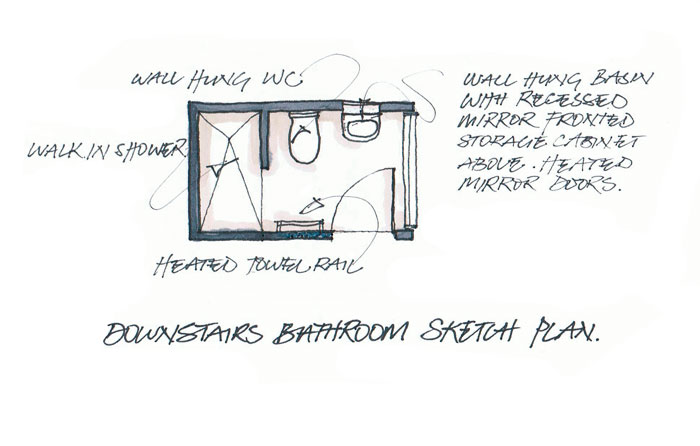 Compact bathroom floor plan.