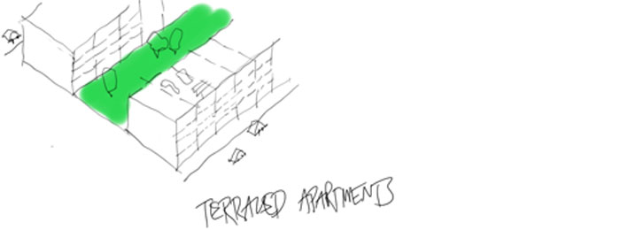 Terraced apartments sketch