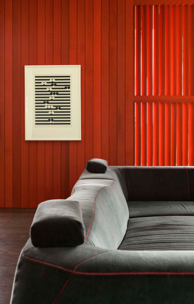 Pattersons modern house screen print and sofa