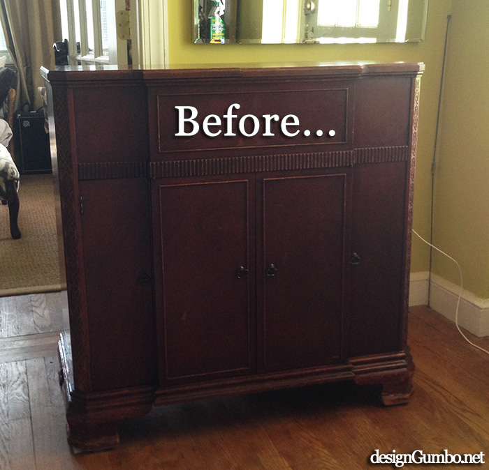Vintage Stereo Cabinet Before chalk paint