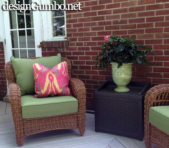 Porch Fantasies & Deck Dreams- Lowes Allen & Roth wicker chair