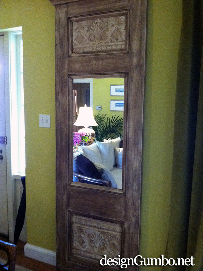 Trumeau mirror made from an old 3 p;anel door