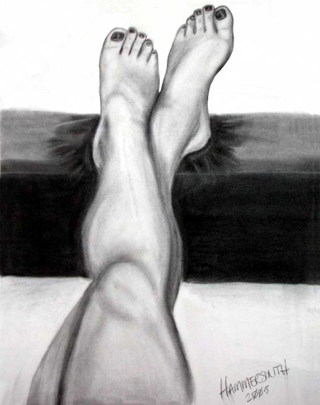 Charcoal of me relaxing one night in 2005.  My legs propped up on the ottoman